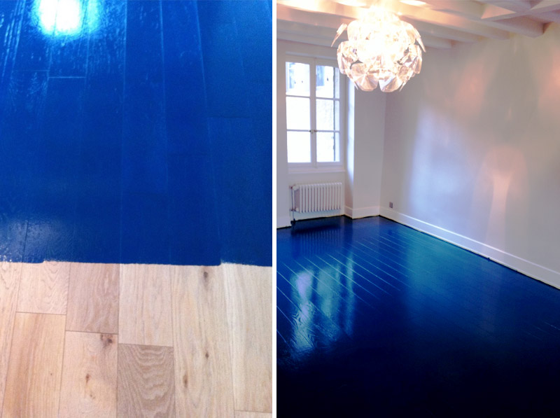 Parquet coloration en bleu